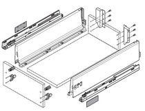 Kit tiroir - coulisses BLUMOTION Hauteur K (115,6 mm)