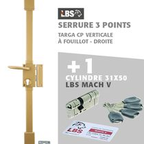Lot serrure 3 points TARGA CP verticale à fouillot, droite, or + Cylindre Mach V LBS 31x60