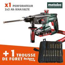 Lot perfo 18V 2 x 4 Ah Metabo + foret Techpro