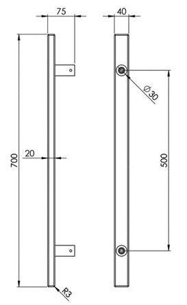 Poignée de tirage rectangulaire aluminium